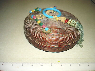 """Antique Woven Chinese Asian Sewing Basket Tassels Coins Beads Ring 7"""" Dia NR"""