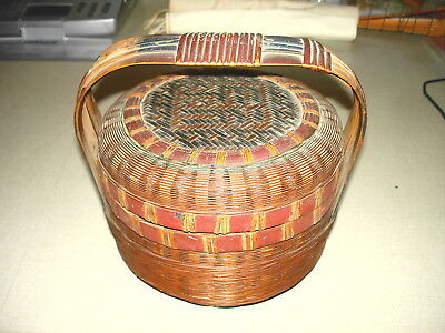 Antique Woven Wicker Chinese Asian Sewing Basket PAINT DECORATED w HANDLE NR