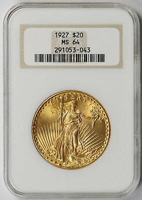 1927 Saint Gaudens Double Eagle Gold $20 MS 64 NGC Old Fat Holder