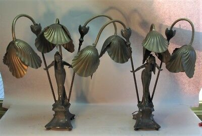 "Fine Pair of 27"" GERMAN ART NOUVEAU 3-Shade Newel Post Lamps  c. 1915  antique"