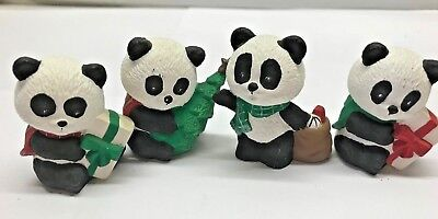 Lot 4 PANDA BEAR Christmas Figurines Ceramic set miniature display bisque animal