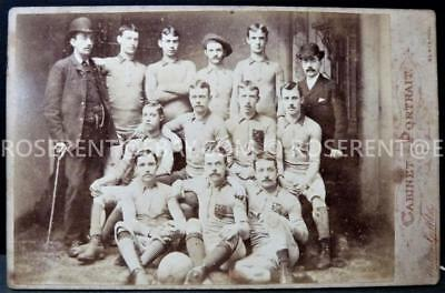 c1890s Football Team with letter L & Flower Badge -Blackpool maker Cabinet photo