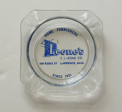 LEONE'S Home Furnishers Ashtray F.J. Leone Lawrence Mass. Advertising Vintage MA