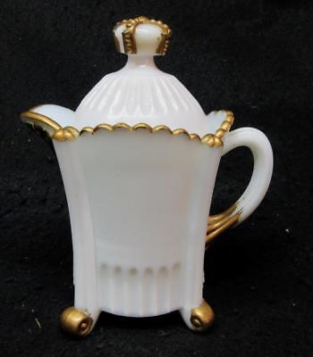 Old Opaque MILK GLASS CROWN TOP CREAMER w LID, OLD MUSTARD Container w Label