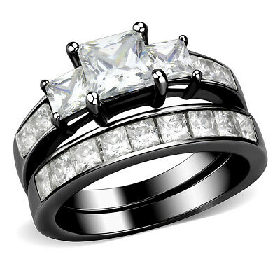 3 Stone Type 6mm Princess CZ Womens Black IP Stainless Steel Promise Ring Set