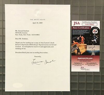 Laura Bush Signed White House Letter Actually Very Rare First Lady JSA COA AUTO