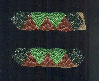 (4) Vintage Possible Native American Indian Bead Work Pieces Colorful ROUGH look