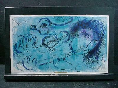 Lespirit No Reserve 3970 Signed Numbered Marc Chagall Print Of Blue Flutist