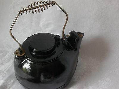 Old Antique Cast Iron Primitive Rustic  Kettle Painted Black