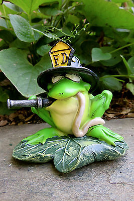Fireman Frog Resin W.Stratford 4 in.New Garden Ribbitz Collection Hose in Mouth