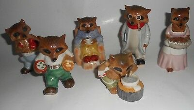 Vintage RINGTALE RACCOONS Figurines ~Lot of 6.. Professor- Mom- MORE