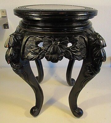 "18"" Tall Chinese Black Lacquered Wooden Plant Stand Low Table Asian Floral"