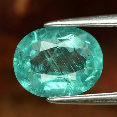 1.90ct 9x7mm Oval Natural Unheated Paraiba-Color Neon Blue Apatite