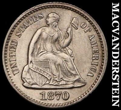 1870 Seated Liberty Half Dime- Scarce !! Almost Uncirculated+ !! #h5996