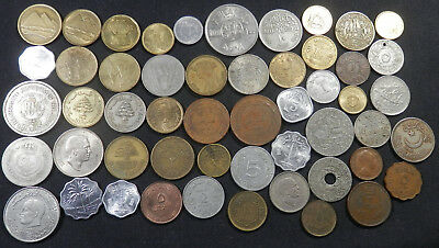 Arabic Collection Of 52 Diff Type Coins, Old And New, From Many Arabic Countries