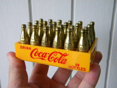 1950's Vintage MINIATURE COCA COLA Gold Mini Coke Bottles in Plastic Case