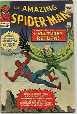 AMAZING SPIDER-MAN #  7 Early Silver Age VULTURE KEY! NICE!