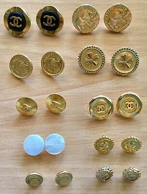 Large Lot of 20 Vintage Authentic CHANEL Buttons ~ 10 Pairs ~  All Matched Sets