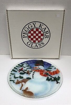 "2000 Peggy Karr Fused Art Glass Winter SNOWMAN 14"" Round Platter Plate Signed"