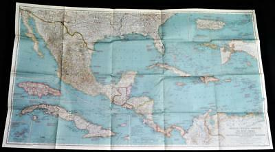National Geographic Map Of The West Indies Mexico Central America 1939 Vintage