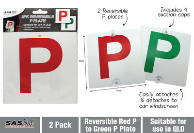 2pk Reversible P Plate (Red & Green) for QLD Queensland Brand New
