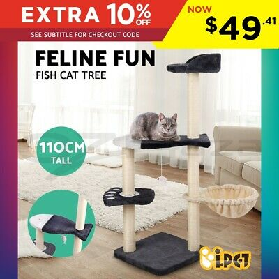 i.Pet Cat Tree Scratching Post Sisal Pole Condo Furniture Multi level Toy 110cm