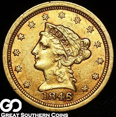 1846-O Quarter Eagle, $2.5 Gold Liberty, Better Date Orleans, 90º Rotated Rev.