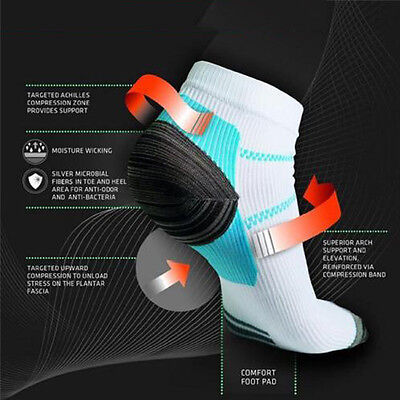 Women Men Plantar Fasciitis Heel Arch Pain Relieving Compression Sport Socks Hot