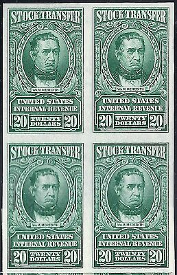 """Rare US #RD67-RD85 Imperforate Blocks of Four Issue w/o """"SERIES 1940"""" Overprint"""