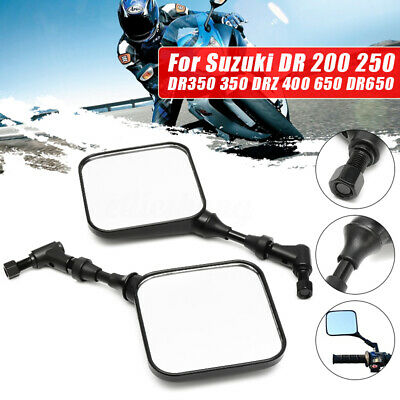 2pcs Motorcycle Rear View Mirror Black For Suzuki DR 200 250 DR350 DRZ 400 DR650