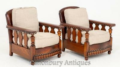 Pair Art Deco Club Chairs Vintage Circa 1930