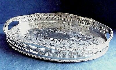 """SUPERB 16"""" ~ SILVER Plated ~ Georgian Style ~ GALLERY TRAY ~ 41 x 27cm"""