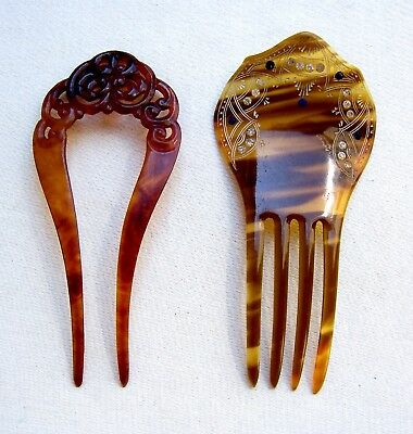 Two Victorian faux tortoiseshell hair combs