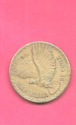 Chile Km191 1966 Vf-Very Fine-Nice Old Vintage Large 10 Centesimos Bird Coin