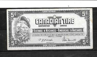 Canada Canadian 1974 5 Cents Vg Circulated Tire Money Currency Banknote  Note