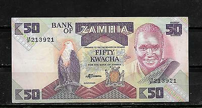 ZAMBIA #28a VF OLD 1986 CIRC 50 KWACHA BANKNOTE BILL NOTE CURRENCY PAPER MONEY