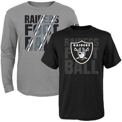 Oakland Raiders Toddler Two-Pack Playmaker Long Sleeve & Short Sleeve T-Shirt