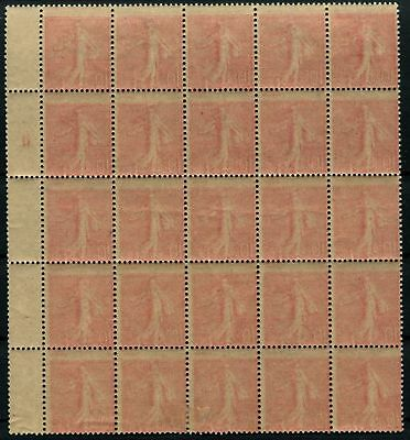 Pack N°4508 France Variety N°129 Panel of 25 stamps with print R./V New LUXE