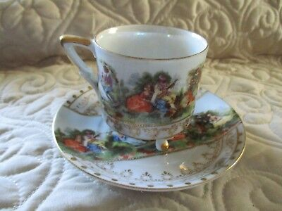 Vintage Victorian Courting Couple Footed Cup & Saucer Japan Raised Gilding Trim