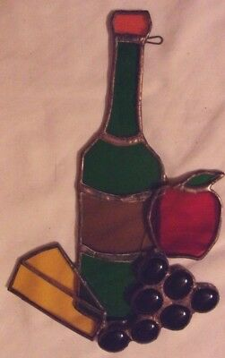 Stained Glass Window Wall Hanging Wine Bottle Grapes Cheese Apple Way Cool