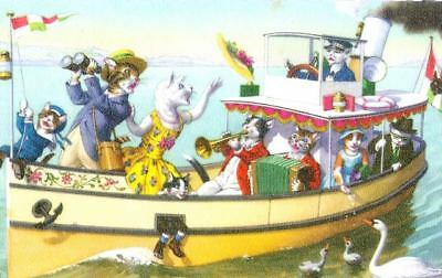 Old ALMA Mainzer Postcard 4911 on Cats Sightseeing Boat Belgium c1960s