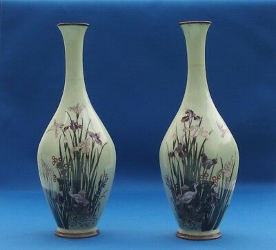 PR JAPANESE CLOISONNE Silver Wire CRANES HERONS LILIES VASES plate vase chinese