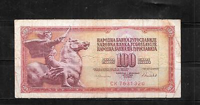 YUGOSLAVIA #90c 1986 VG USED OLD 100 DINARA BANKNOTE CURRENCY  NOTE PAPER MONEY