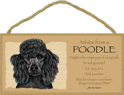 ADVICE FROM A POODLE wood SIGN wall hanging NOVELTY PLAQUE black puppy dog USA