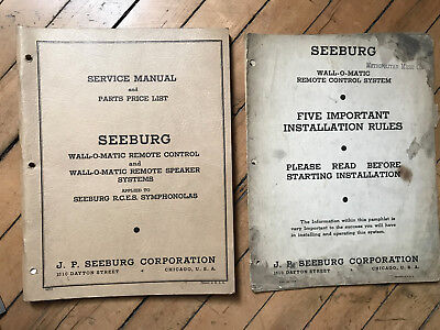 1940 Seeburg Wall-O-Matic Remote Service & Parts Manual with 2nd Installation Ru