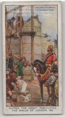 King Alfred The Greal Rebuilds Walls Of London England 886 80+ Y/O Ad Trade Card