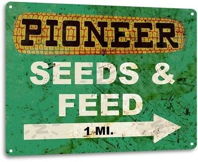 Pioneer Seed and Feed Vintage Farm Rustic Metal Tin Sign