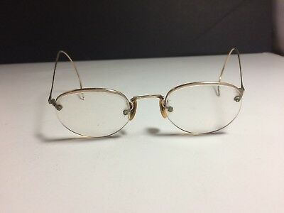 Vintage Antique Shuron Wire Rim Eye Glasses Eyeglasses 1/10 12k Gold Filled Nice