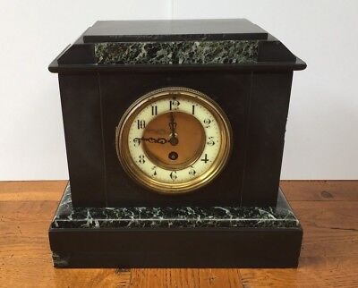 About 1890, a French Slate & Marble Antique Mantel Clock - Courier or Collection