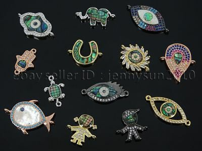 Zircon Gemstones Pave Abalone Bracelet Connector Charm Beads Silver Gold Rose
